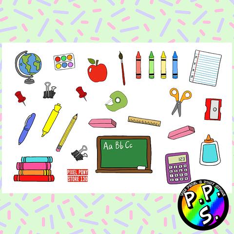Lámina de Stickers 130 Escuela