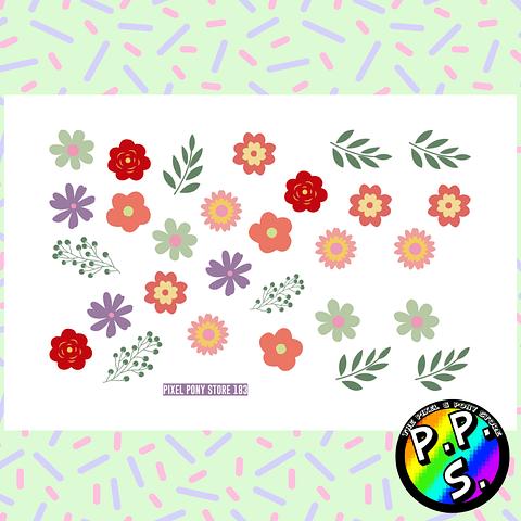 Lámina de Stickers 183 Flores