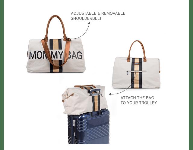 Mommy Bag - Blanca Rayas Negro y Dorado