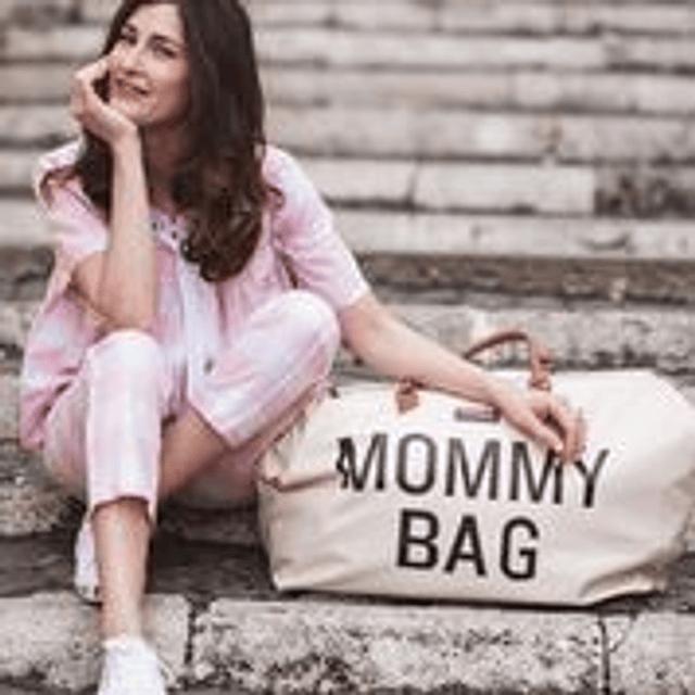 Mommy Bag - Crema Letras Negras