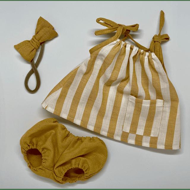 Vestido Mostaza Líneas Algodón - Lino