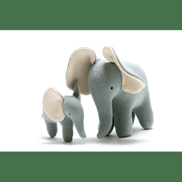 Elefante de Algodón Orgánico Verde/Azul Grande