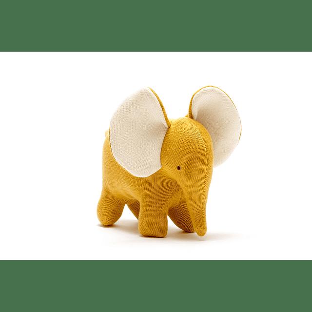 Elefante de Algodón Orgánico Mostaza Grande
