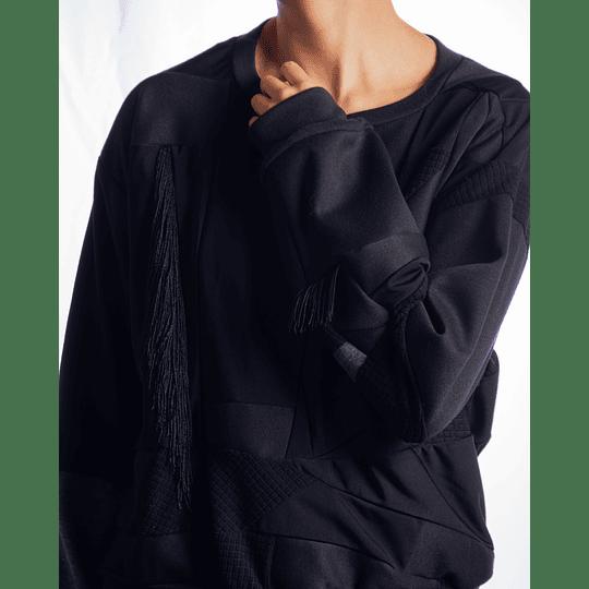 Saco negro cuello redondo - Flecos