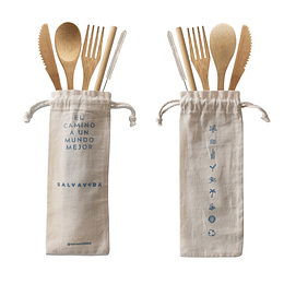 Kit de Cubiertos de Bambú