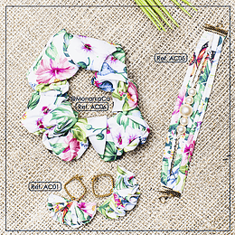 Mix Tropical (scrunchie + aretes cortos + pulsera)