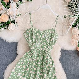 Vestido verde floreado