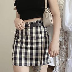 Falda recta cuadrille negra