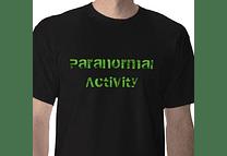T-shirt preta de atividade paranormal