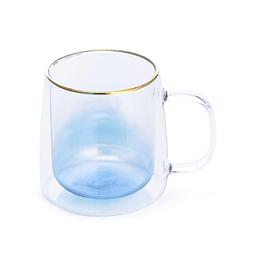 Taza Doble Vidrio Blue