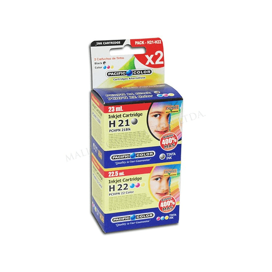 Pack hp 21 y 22 Alternativa Comp Hp Pacific color