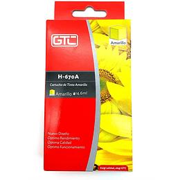 670XL Yellow Cartridge Alternativo Gtc comp Hp