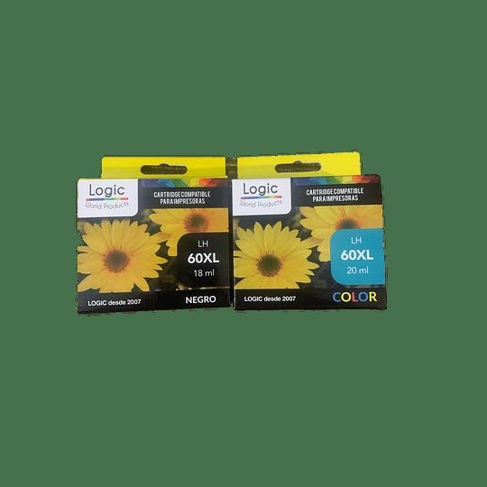 60XL Pack 1 Negro ,1Color, Cartucho Tinta compatible Hp Logic