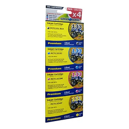 133 Pack 4 Cartuchos Alternativo compatible Epson Pacific Color