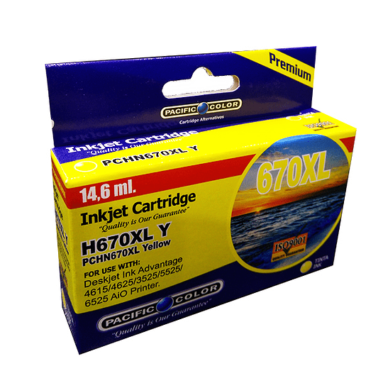 670XL Yellow Cartridge Alternativo pacific color comp Hp