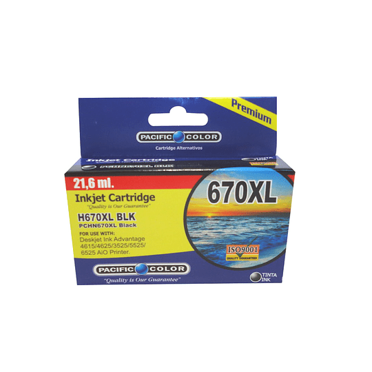 670XL Negro Cartridge Alternativo pacific color comp Hp