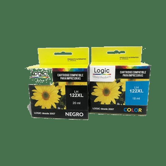 122XL Pack 2 cartuchos alternativo , 1 negro, 1 color Logic