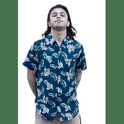 Camisa Rip Curl Azul Floreada