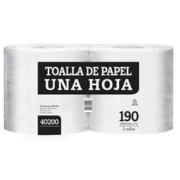 Toalla de papel 190 m hoja simple (2 rollos)