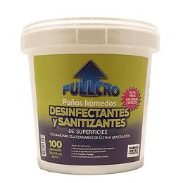 Paños húmedos antibacteriales en balde 100 unidades