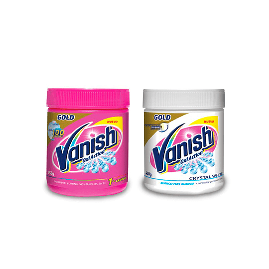 Vanish Pack Quitamanchas ropa blanca + color polvo pote 450 gr + 450 gr