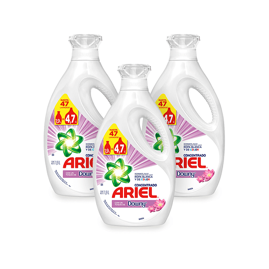 Ariel Power Liquid Detergente liquido concentrado + Toque Downy 3 x 1,9 L
