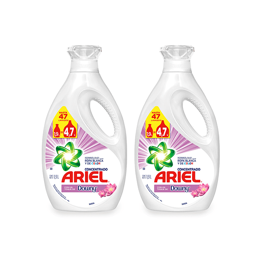 Ariel Power Liquid Detergente liquido concentrado + Toque Downy 2 x 1,9 L