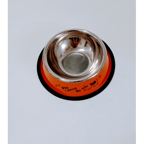 Plato comedero pequeño  metálico con diseño para gato