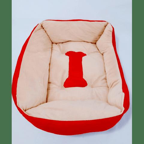 Cama rectangular con diseño de hueso para perro