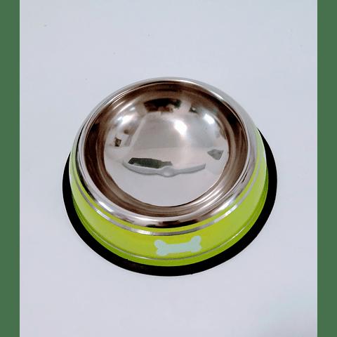 Plato comedero metálico con diseño de hueso para perro