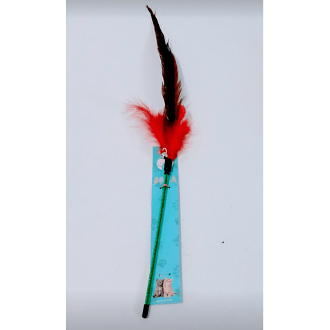 Juguete vara con pluma para gato