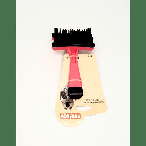 Cepillo pequeño con saca pelo para perro/gato