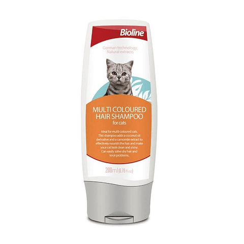 Shampoo Bioline para gato multicolor.