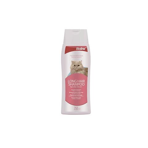 Shampoo Bioline para gato de pelo largo.