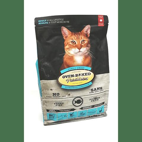 Oven Baked alimento para gato adulto sabor a pescado, 2.27 kg.