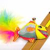 Juguete vara con pez de tela y pluma