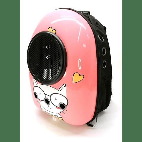 Mochila diseño curvado con cúpula y estampado de cara de gato.