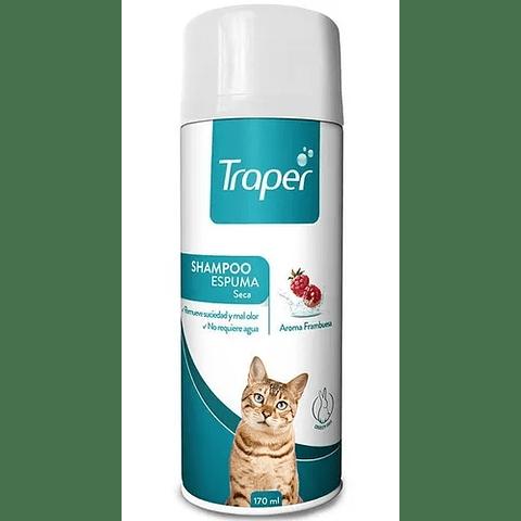 Traper shampoo espuma seca aroma frambuesa, para gato.