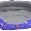 Cama  ovalada de espuma para gato/perro color base azul