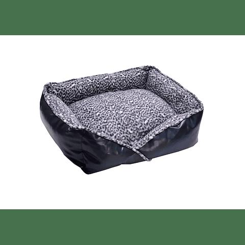 Cama de polar y ecocuero para gato/perro pequeño y mediano