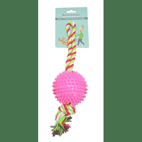 Juguete pelota con puntas y cuerda para perro.