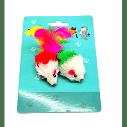 Juguete ratón pequeño de piel y plumas