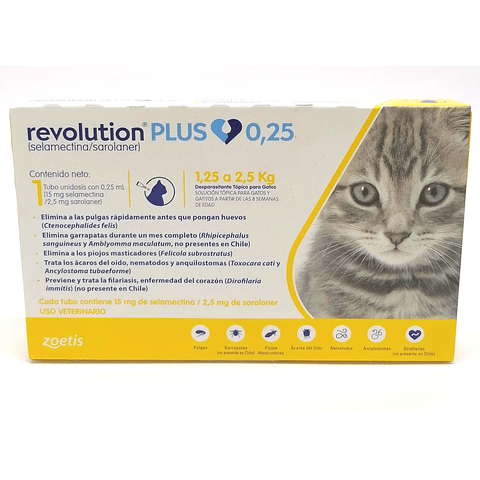 Pipeta Revolution Plus 0,25 ml, gatitos y gatos ( 1,25kg a 2,5kg )