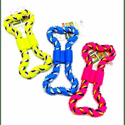 Juguete. Hueso de goma y cuerda para perro