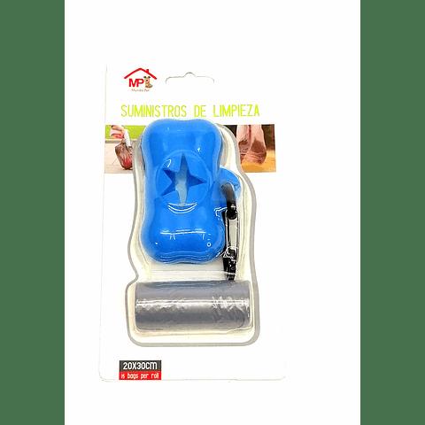 Capsula porta rollos de bolsas para excremento para mascotas.