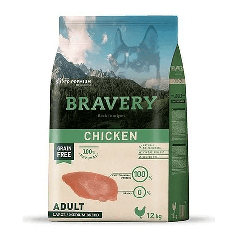 Bravery Adulto de Pollo 12kg para perros