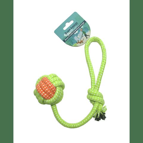 Juguete. Pelota bicolor de cuerda con asa para perro