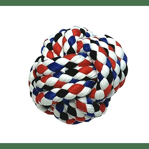 Juguete. Pelota multicolor de cuerda para perro