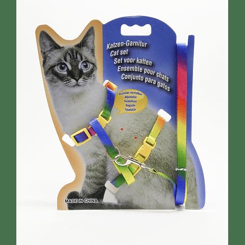 Arnes multicolor ajustable para gato