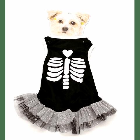 Vestido disfraz esqueleto para mascotas.